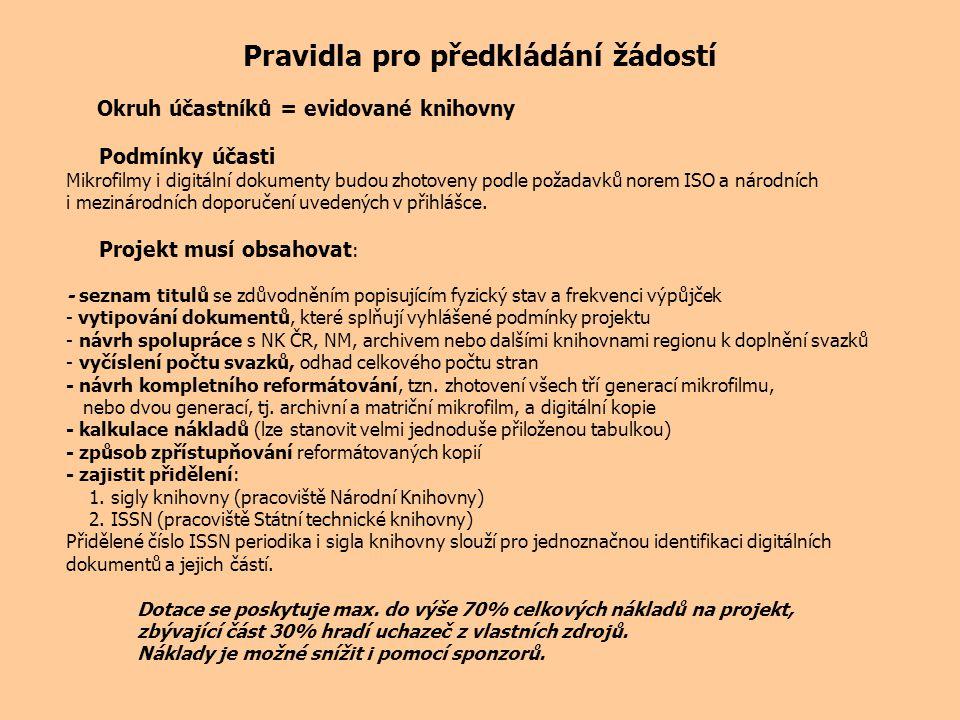 Pravidla pro předkládání žádostí Okruh účastníků = evidované knihovny Podmínky účasti Mikrofilmy i digitální dokumenty budou zhotoveny podle požadavků norem ISO a národních i mezinárodních doporučení uvedených v přihlášce.