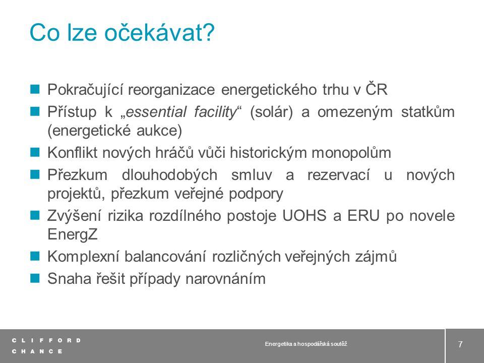 Soutěžní orgány poměrně aktivní Komplexní škála problémových oblastí Energetika zůstane v primárním hledáčku Závěr Energetika a hospodářská soutěž 8