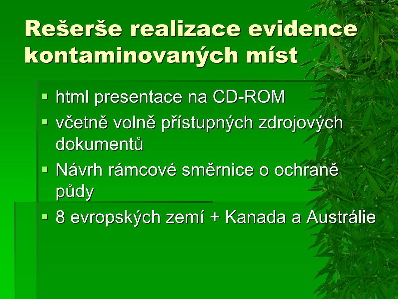 Rešerše realizace evidence kontaminovaných míst  html presentace na CD-ROM  včetně volně přístupných zdrojových dokumentů  Návrh rámcové směrnice o ochraně půdy  8 evropských zemí + Kanada a Austrálie
