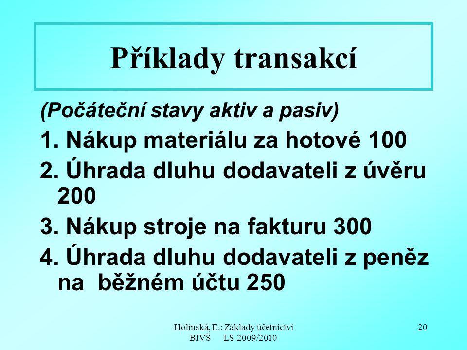 Holínská, E.: Základy účetnictví BIVŠ LS 2009/2010 20 Příklady transakcí (Počáteční stavy aktiv a pasiv) 1. Nákup materiálu za hotové 100 2. Úhrada dl