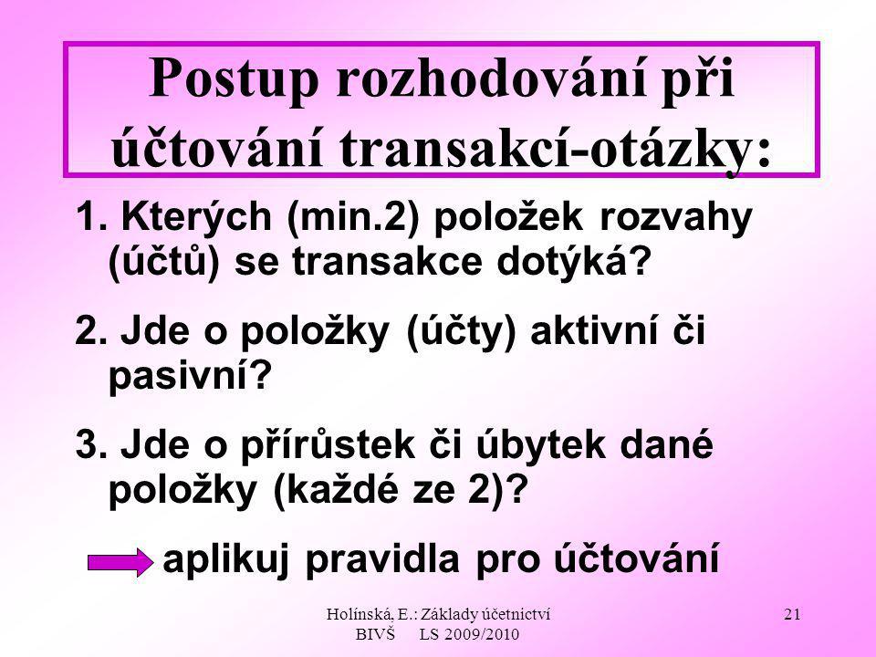 Holínská, E.: Základy účetnictví BIVŠ LS 2009/2010 21 Postup rozhodování při účtování transakcí-otázky: 1. Kterých (min.2) položek rozvahy (účtů) se t