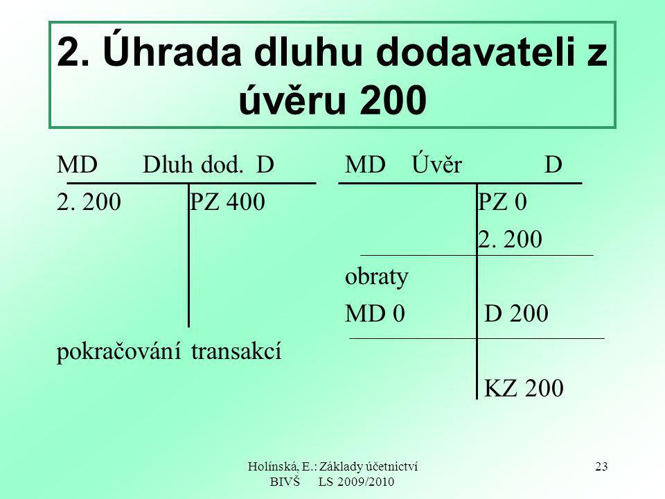 Holínská, E.: Základy účetnictví BIVŠ LS 2009/2010 23 2. Úhrada dluhu dodavateli z úvěru 200 MD Dluh dod.D 2. 200 PZ 400 pokračování transakcí MDÚvěrD