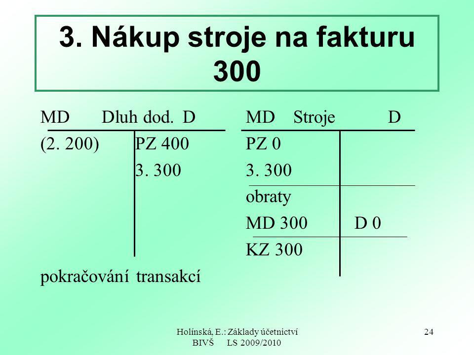 Holínská, E.: Základy účetnictví BIVŠ LS 2009/2010 24 3. Nákup stroje na fakturu 300 MD Dluh dod.D (2. 200) PZ 400 3. 300 pokračování transakcí MDStro