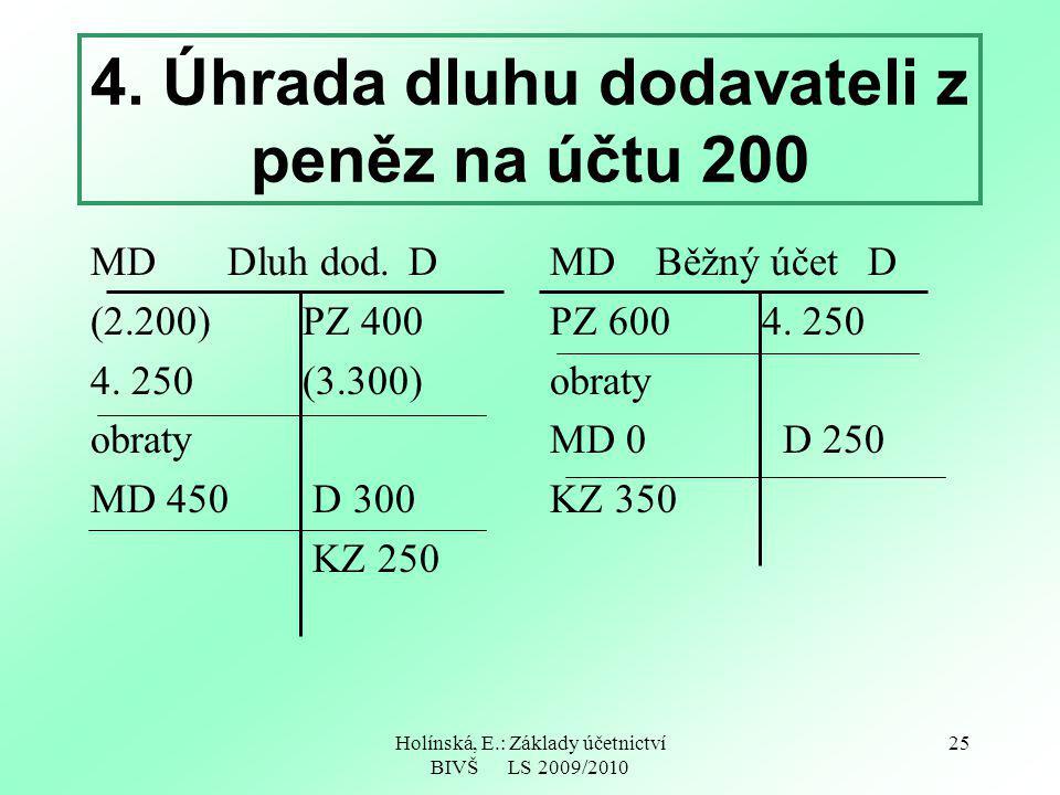 Holínská, E.: Základy účetnictví BIVŠ LS 2009/2010 25 4. Úhrada dluhu dodavateli z peněz na účtu 200 MD Dluh dod.D (2.200)PZ 400 4. 250 (3.300) obraty