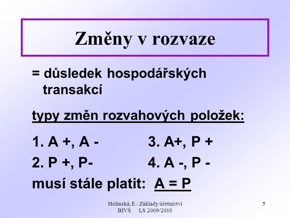 Holínská, E.: Základy účetnictví BIVŠ LS 2009/2010 5 Změny v rozvaze = důsledek hospodářských transakcí typy změn rozvahových položek: 1. A +, A -3. A