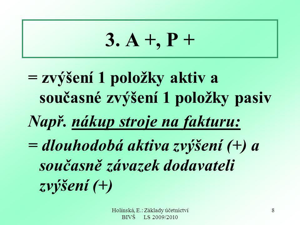 Holínská, E.: Základy účetnictví BIVŠ LS 2009/2010 8 3. A +, P + = zvýšení 1 položky aktiv a současné zvýšení 1 položky pasiv Např. nákup stroje na fa