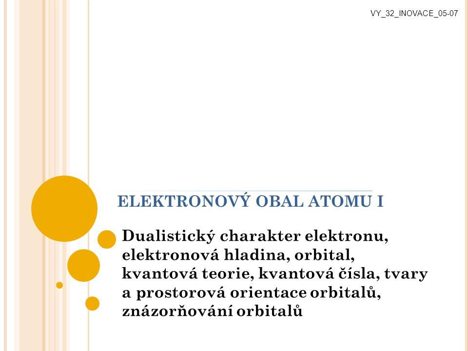 ELEKTRONOVÝ OBAL ATOMU I Dualistický charakter elektronu, elektronová hladina, orbital, kvantová teorie, kvantová čísla, tvary a prostorová orientace