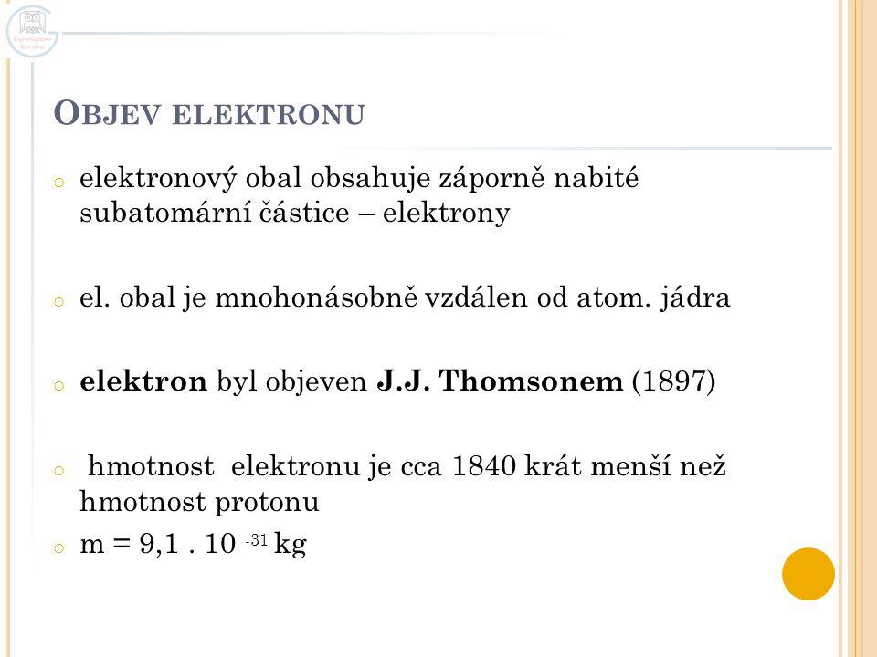 O BJEV ELEKTRONU o elektronový obal obsahuje záporně nabité subatomární částice – elektrony o el. obal je mnohonásobně vzdálen od atom. jádra o elektr