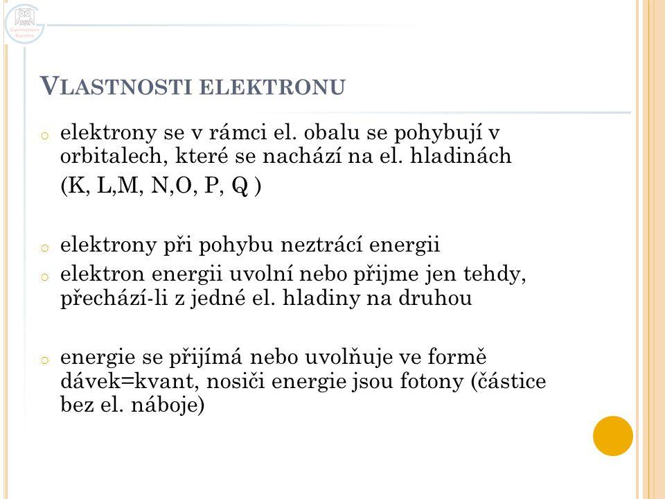 V LASTNOSTI ELEKTRONU o elektrony se v rámci el. obalu se pohybují v orbitalech, které se nachází na el. hladinách (K, L,M, N,O, P, Q ) o elektrony př