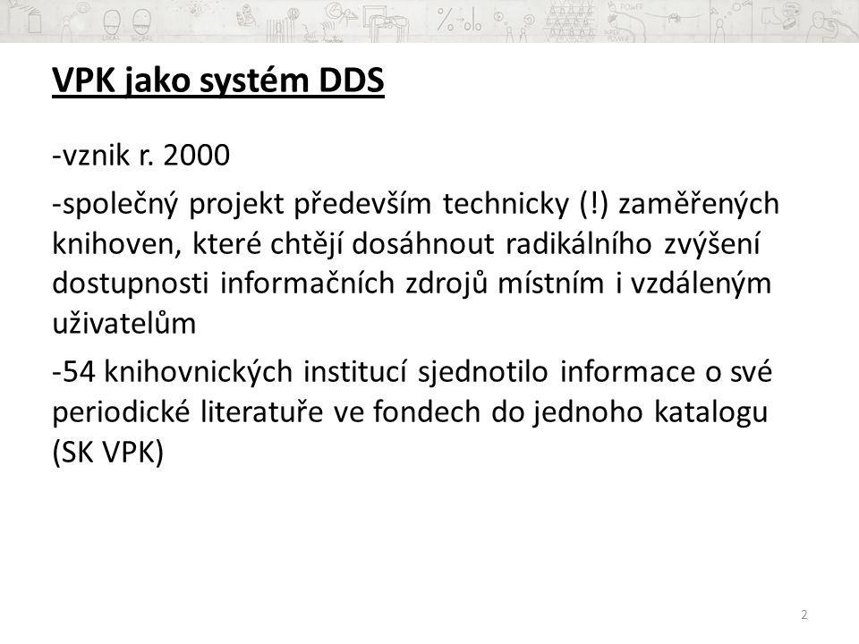 VPK jako systém DDS -vznik r.