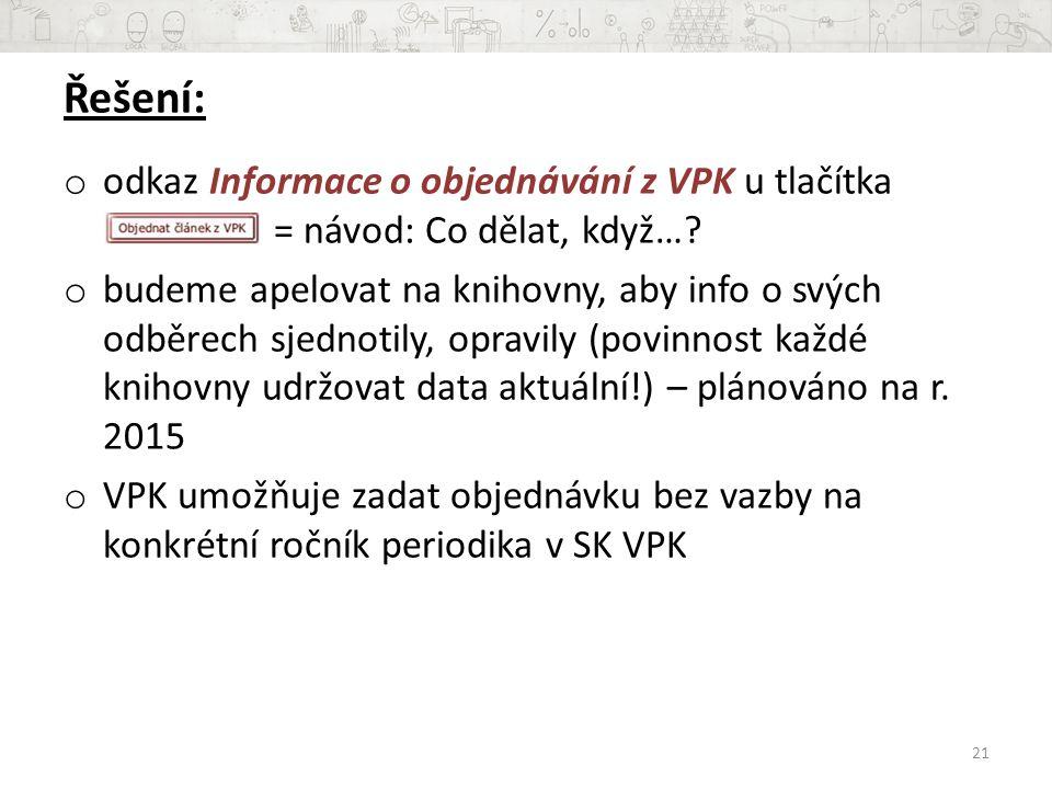 Řešení: o odkaz Informace o objednávání z VPK u tlačítka = návod: Co dělat, když….