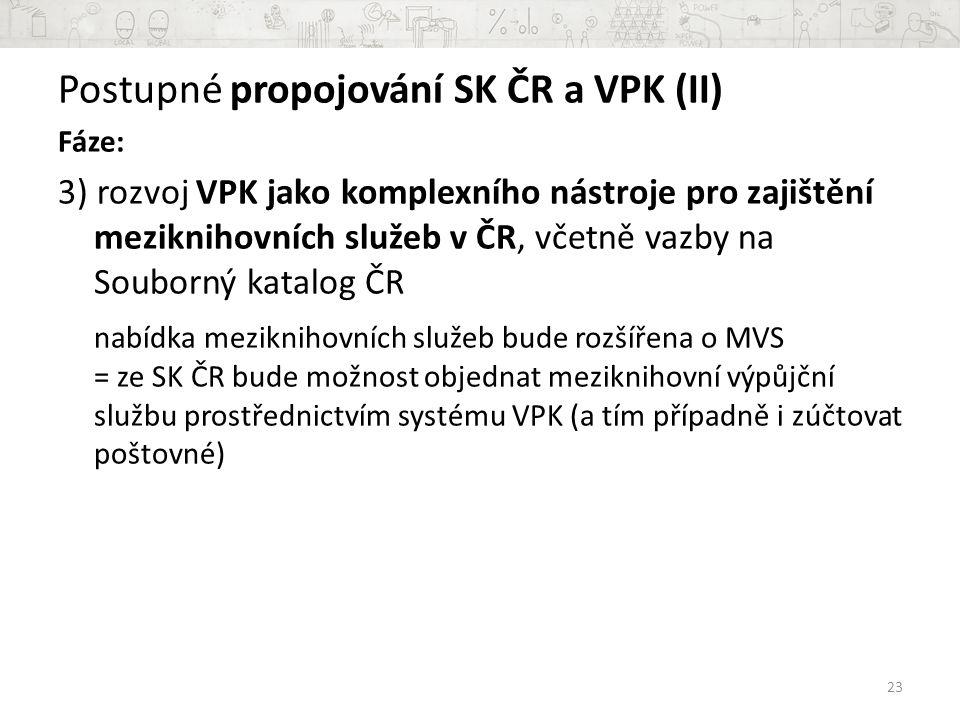 Postupné propojování SK ČR a VPK (II) Fáze: 3) rozvoj VPK jako komplexního nástroje pro zajištění meziknihovních služeb v ČR, včetně vazby na Souborný katalog ČR nabídka meziknihovních služeb bude rozšířena o MVS = ze SK ČR bude možnost objednat meziknihovní výpůjční službu prostřednictvím systému VPK (a tím případně i zúčtovat poštovné) 23
