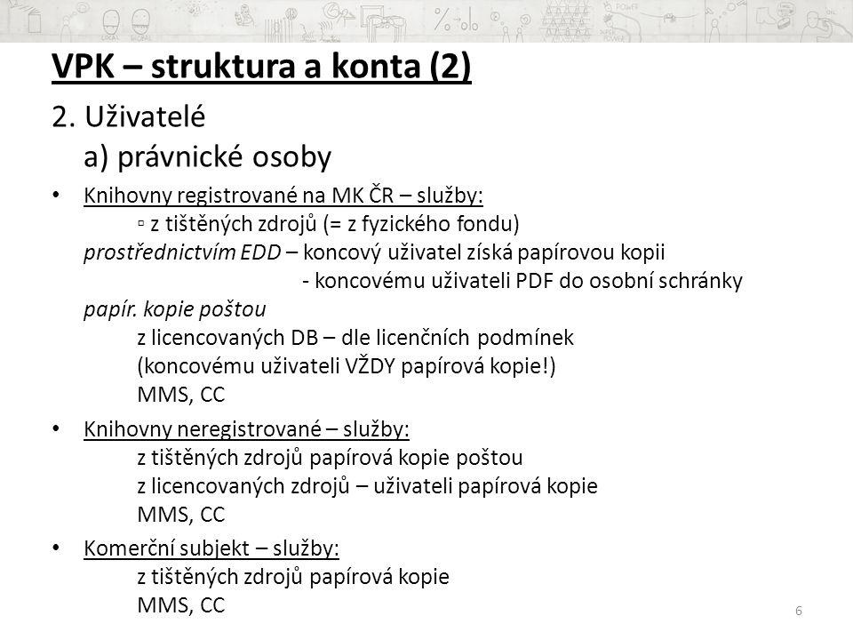 VPK – struktura a konta (3) 2.
