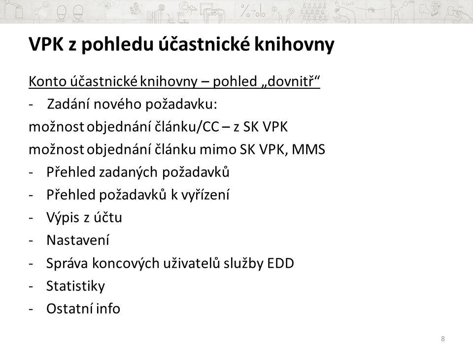 """x problémy: nesouhlasí odběry v SK ČR s odběry v SK VPK nesouhlasí informace o knihovnách, které konkrétní titul odebírají (v SK ČR účastnická knihovna VPK odběry má X v SK VPK u titulu uvedena není) Důvody: knihovna nahlásí do SK VPK pouze ty roky, z nichž je schopna/ochotna poskytnout DDS; na preciznosti dat v SK VPK je založeno workflow VPK = > knihovny jsou tím přirozeně """"nuceny uvádět přesnější údaje; v SK ČR i SK VPK probíhají roční aktualizace dat 19"""
