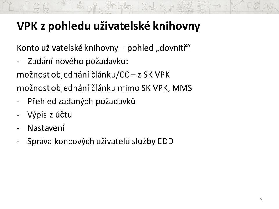 Informace o objednávání z VPK 20