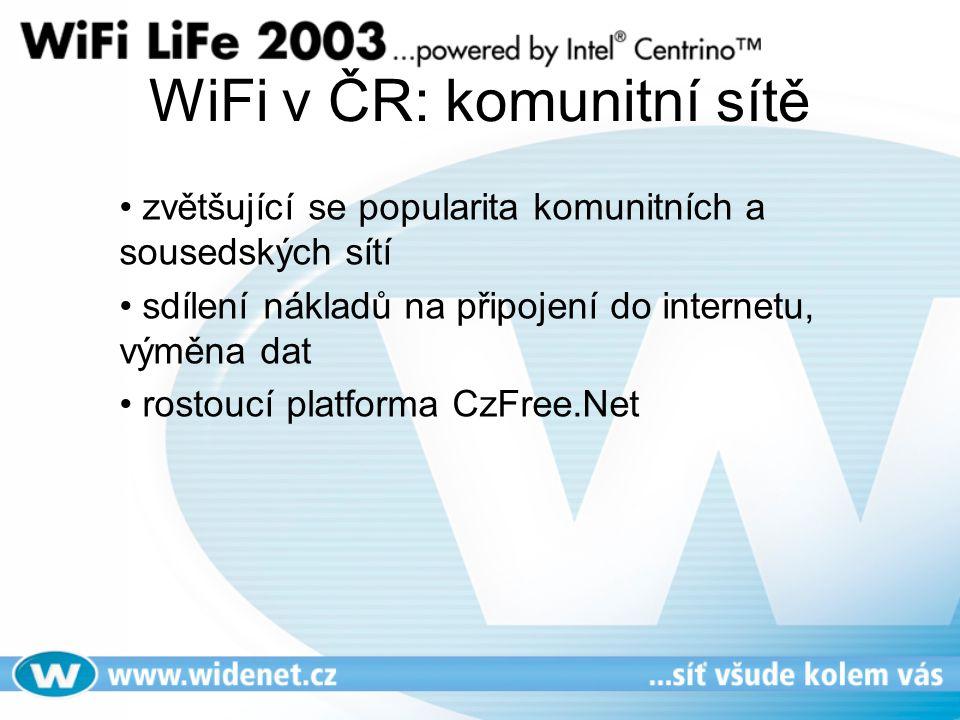 WiFi v ČR: komunitní sítě zvětšující se popularita komunitních a sousedských sítí sdílení nákladů na připojení do internetu, výměna dat rostoucí platforma CzFree.Net