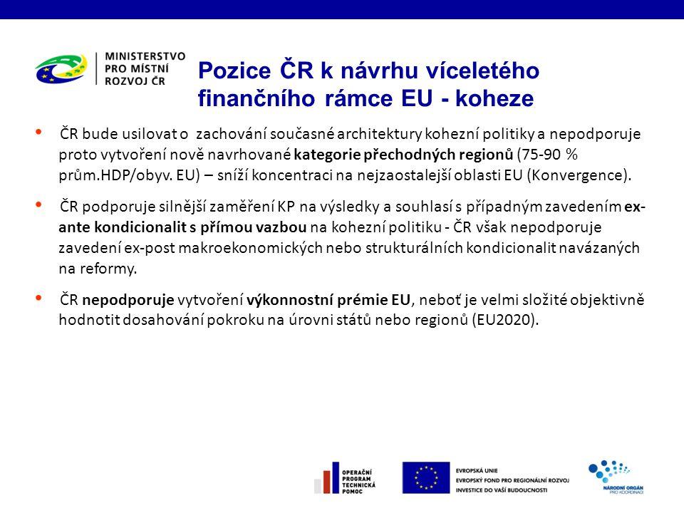 Pozice ČR k návrhu víceletého finančního rámce EU - koheze ČR bude usilovat o zachování současné architektury kohezní politiky a nepodporuje proto vytvoření nově navrhované kategorie přechodných regionů (75-90 % prům.HDP/obyv.
