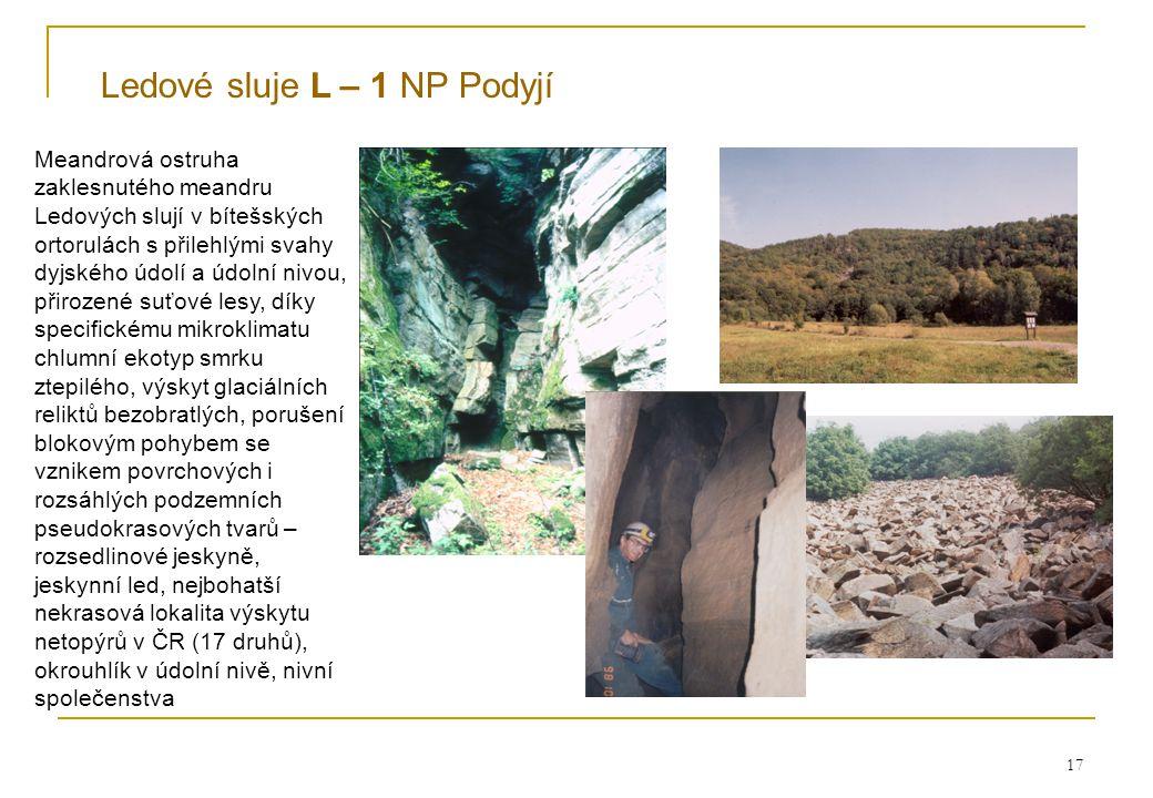 17 Ledové sluje L – 1 NP Podyjí Meandrová ostruha zaklesnutého meandru Ledových slují v bítešských ortorulách s přilehlými svahy dyjského údolí a údolní nivou, přirozené suťové lesy, díky specifickému mikroklimatu chlumní ekotyp smrku ztepilého, výskyt glaciálních reliktů bezobratlých, porušení blokovým pohybem se vznikem povrchových i rozsáhlých podzemních pseudokrasových tvarů – rozsedlinové jeskyně, jeskynní led, nejbohatší nekrasová lokalita výskytu netopýrů v ČR (17 druhů), okrouhlík v údolní nivě, nivní společenstva