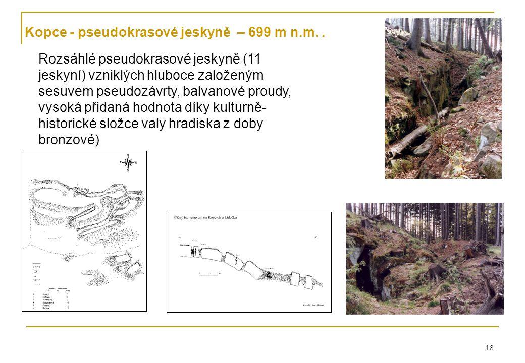18 Kopce - pseudokrasové jeskyně – 699 m n.m..