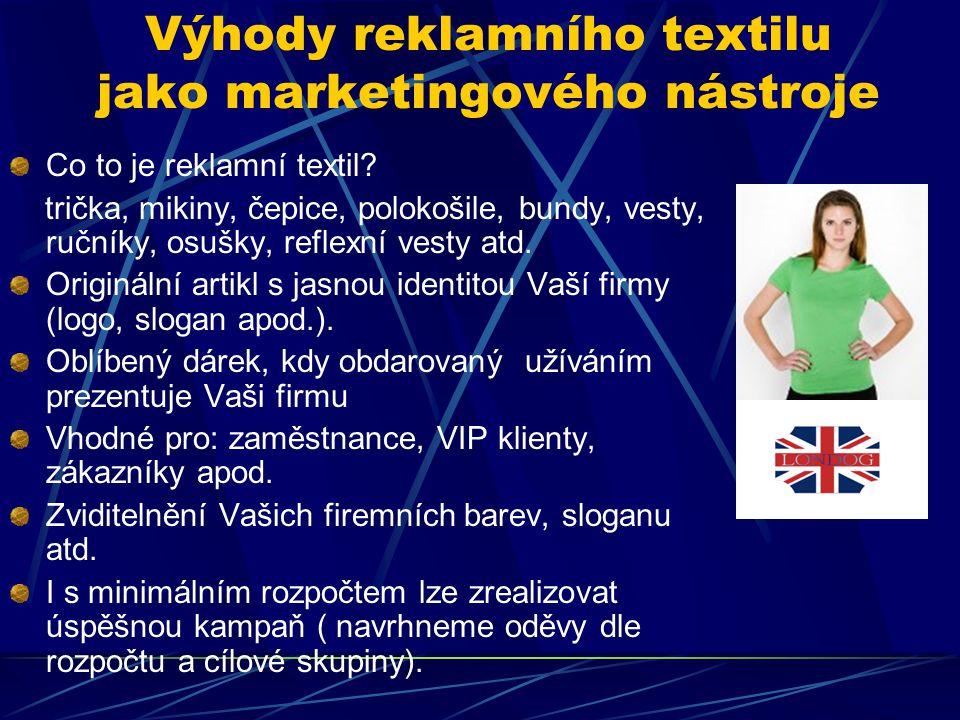 Současné trendy Reklamní textil už není pouze jen bílé tričko s logem.