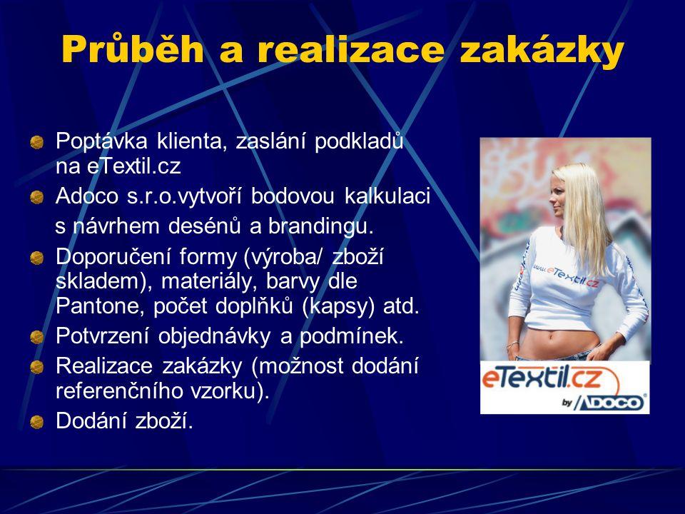 Průběh a realizace zakázky Poptávka klienta, zaslání podkladů na eTextil.cz Adoco s.r.o.vytvoří bodovou kalkulaci s návrhem desénů a brandingu.