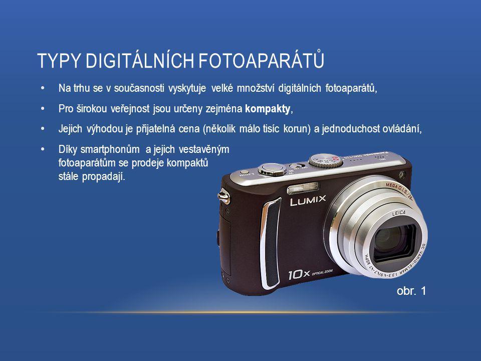 TYPY DIGITÁLNÍCH FOTOAPARÁTŮ Na trhu se v současnosti vyskytuje velké množství digitálních fotoaparátů, Pro širokou veřejnost jsou určeny zejména kompakty, Jejich výhodou je přijatelná cena (několik málo tisíc korun) a jednoduchost ovládání, Díky smartphonům a jejich vestavěným fotoaparátům se prodeje kompaktů stále propadají.