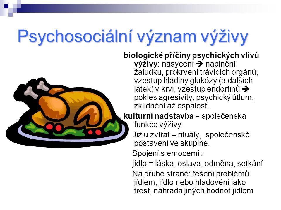 Psychosociální význam výživy biologické příčiny psychických vlivů výživy: nasycení  naplnění žaludku, prokrvení trávících orgánů, vzestup hladiny glu