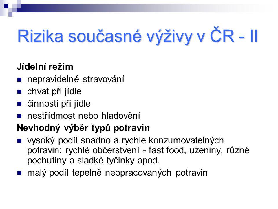 Rizika současné výživy v ČR - II Jídelní režim nepravidelné stravování chvat při jídle činnosti při jídle nestřídmost nebo hladovění Nevhodný výběr ty