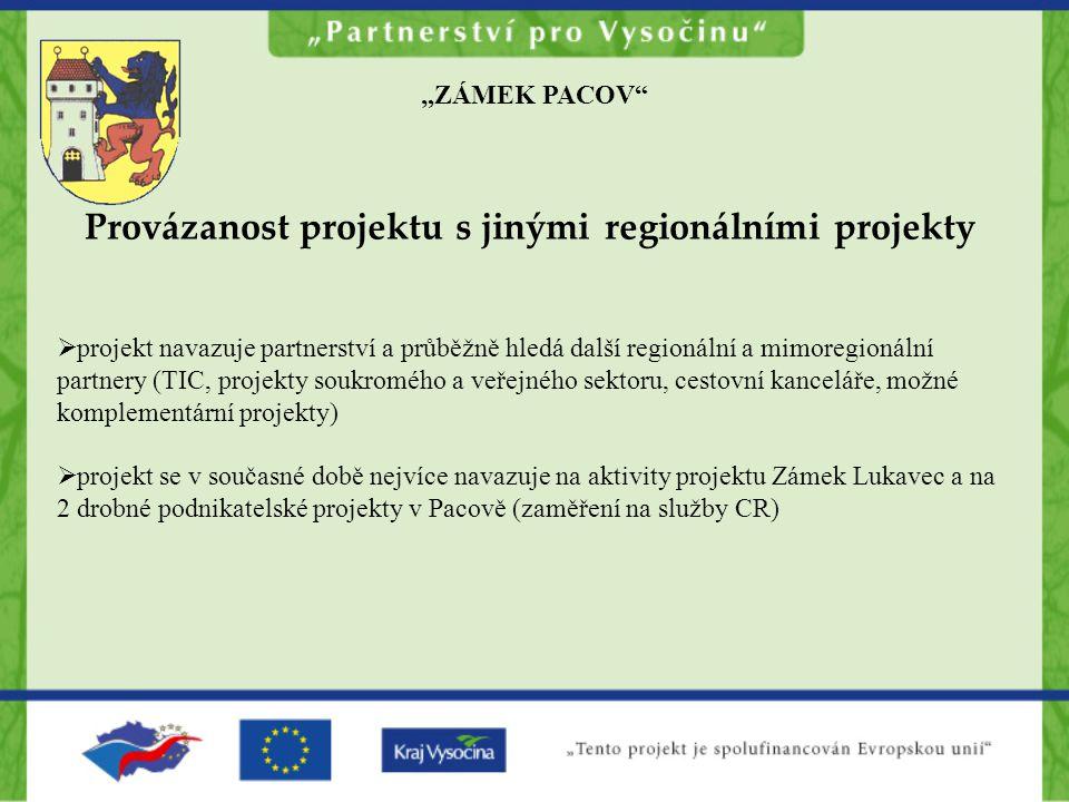"""""""ZÁMEK PACOV Provázanost projektu s jinými regionálními projekty  projekt navazuje partnerství a průběžně hledá další regionální a mimoregionální partnery (TIC, projekty soukromého a veřejného sektoru, cestovní kanceláře, možné komplementární projekty)  projekt se v současné době nejvíce navazuje na aktivity projektu Zámek Lukavec a na 2 drobné podnikatelské projekty v Pacově (zaměření na služby CR)"""