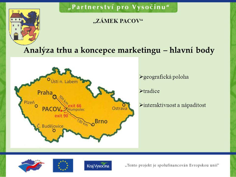 """""""ZÁMEK PACOV Analýza trhu a koncepce marketingu – hlavní body  geografická poloha  tradice  interaktivnost a nápaditost"""