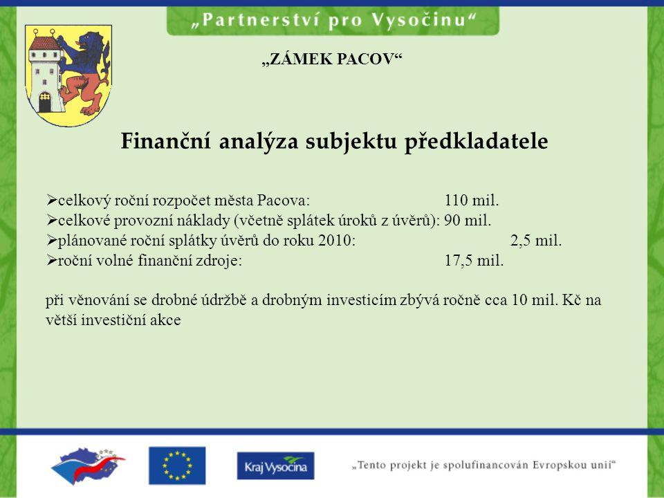 """""""ZÁMEK PACOV Finanční analýza subjektu předkladatele  celkový roční rozpočet města Pacova:110 mil."""