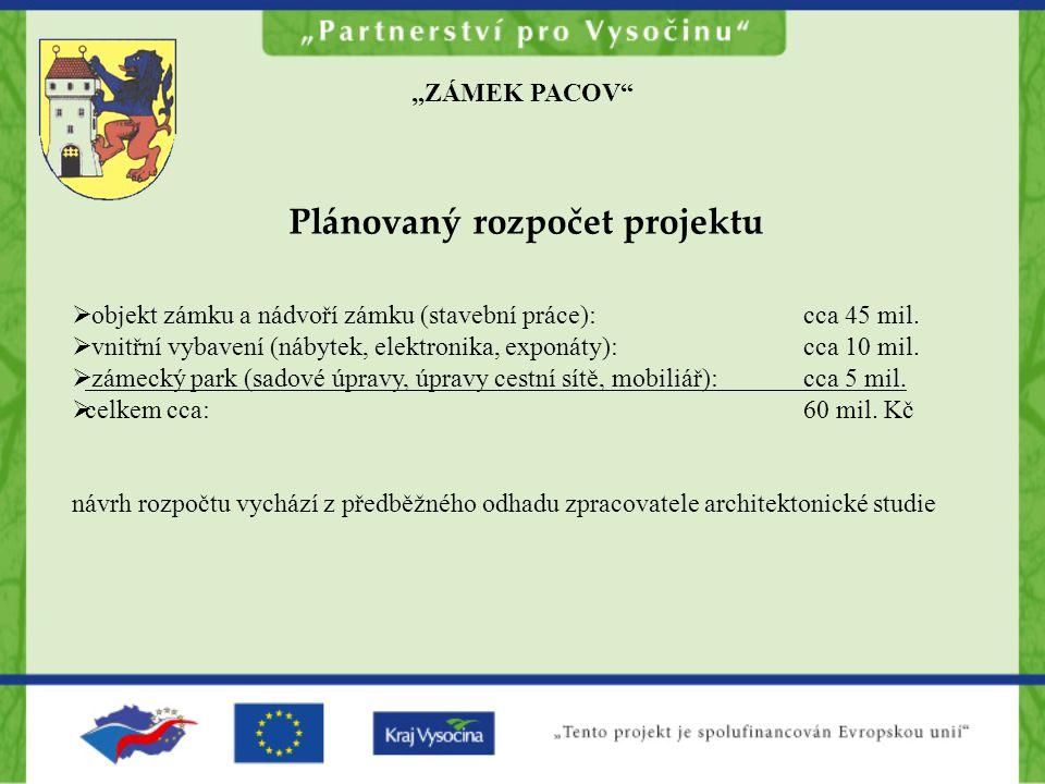 """""""ZÁMEK PACOV Plánovaný rozpočet projektu  objekt zámku a nádvoří zámku (stavební práce):cca 45 mil."""