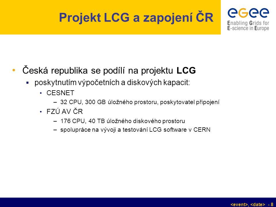 , - 8 Projekt LCG a zapojení ČR Česká republika se podílí na projektu LCG  poskytnutím výpočetních a diskových kapacit: CESNET –32 CPU, 300 GB úložné