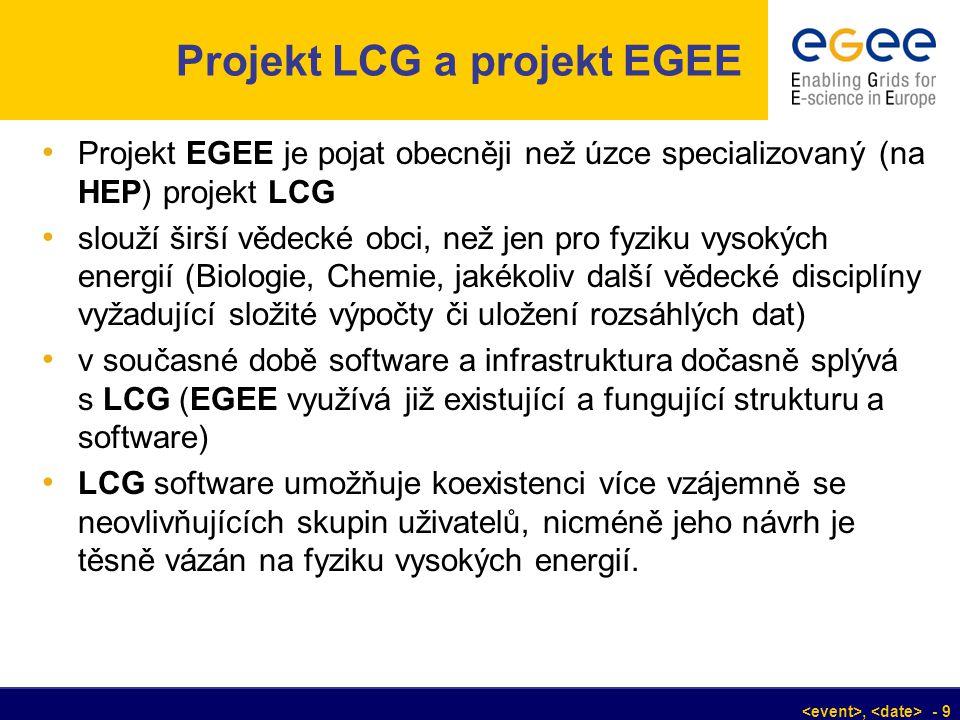 , - 9 Projekt LCG a projekt EGEE Projekt EGEE je pojat obecněji než úzce specializovaný (na HEP) projekt LCG slouží širší vědecké obci, než jen pro fy
