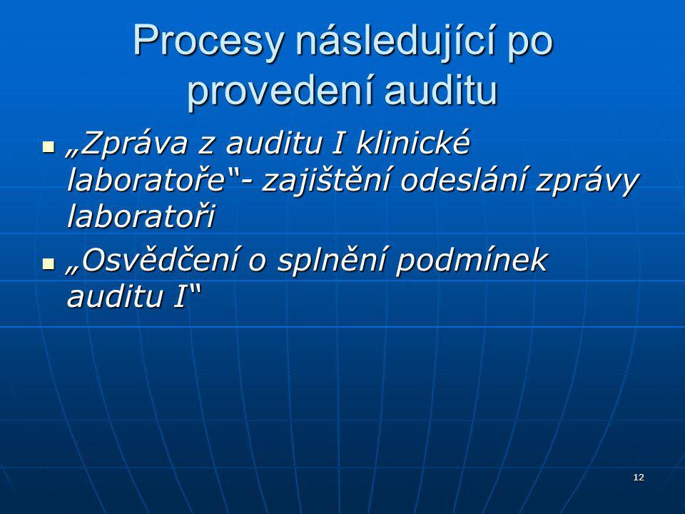"""12 Procesy následující po provedení auditu """"Zpráva z auditu I klinické laboratoře - zajištění odeslání zprávy laboratoři """"Zpráva z auditu I klinické laboratoře - zajištění odeslání zprávy laboratoři """"Osvědčení o splnění podmínek auditu I """"Osvědčení o splnění podmínek auditu I"""