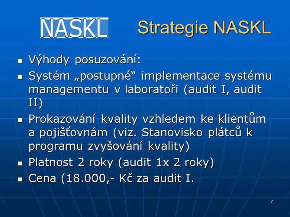 """7 Strategie NASKL Strategie NASKL Výhody posuzování: Výhody posuzování: Systém """"postupné implementace systému managementu v laboratoři (audit I, audit II) Systém """"postupné implementace systému managementu v laboratoři (audit I, audit II) Prokazování kvality vzhledem ke klientům a pojišťovnám (viz."""