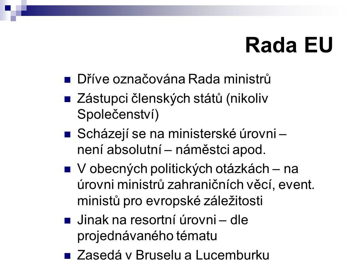 Rada EU Dříve označována Rada ministrů Zástupci členských států (nikoliv Společenství) Scházejí se na ministerské úrovni – není absolutní – náměstci apod.