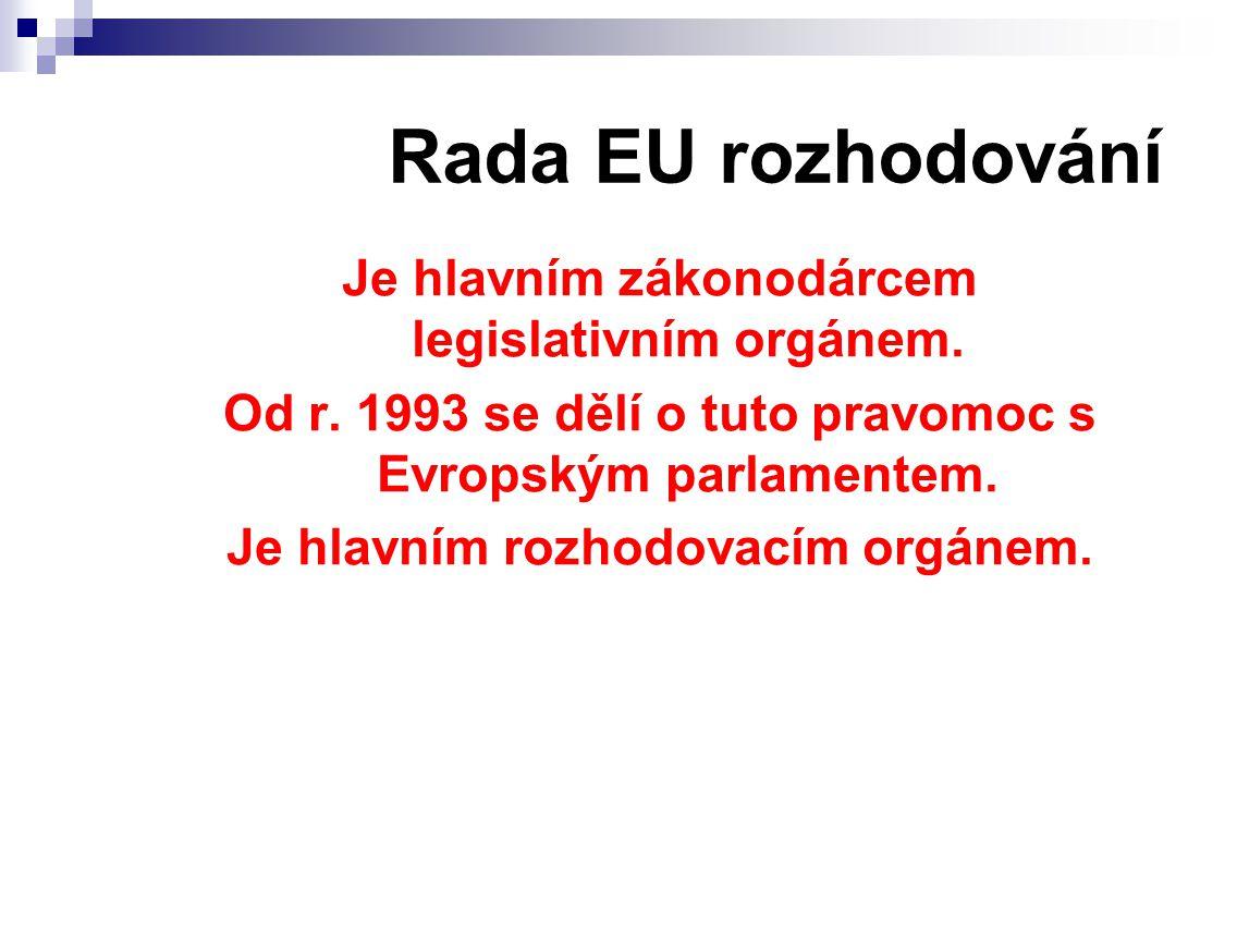 Rada EU rozhodování Je hlavním zákonodárcem legislativním orgánem.
