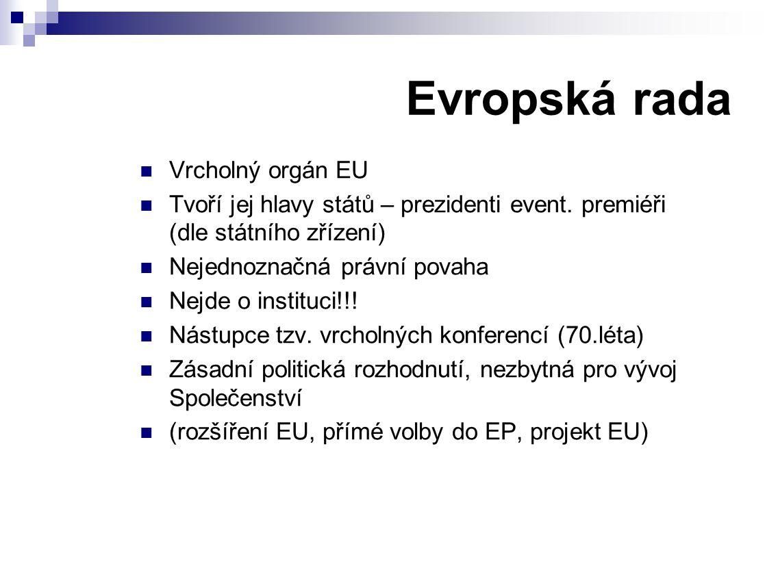 Evropská rada Vrcholný orgán EU Tvoří jej hlavy států – prezidenti event.