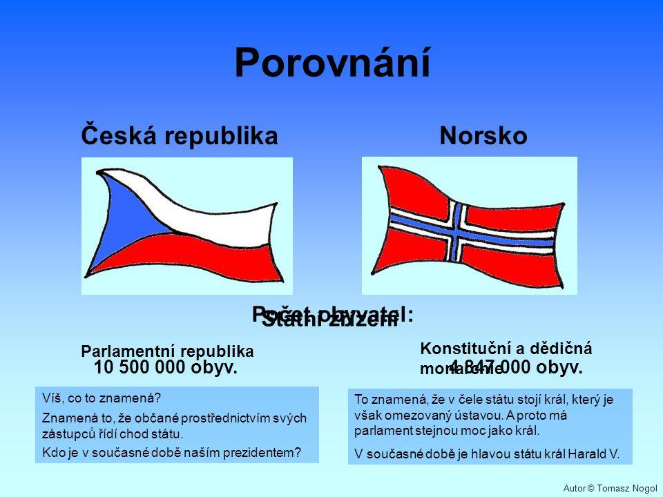Porovnání Česká republikaNorsko Počet obyvatel: Státní zřízení Parlamentní republika Konstituční a dědičná monarchie 10 500 000 obyv.4 847 000 obyv. T