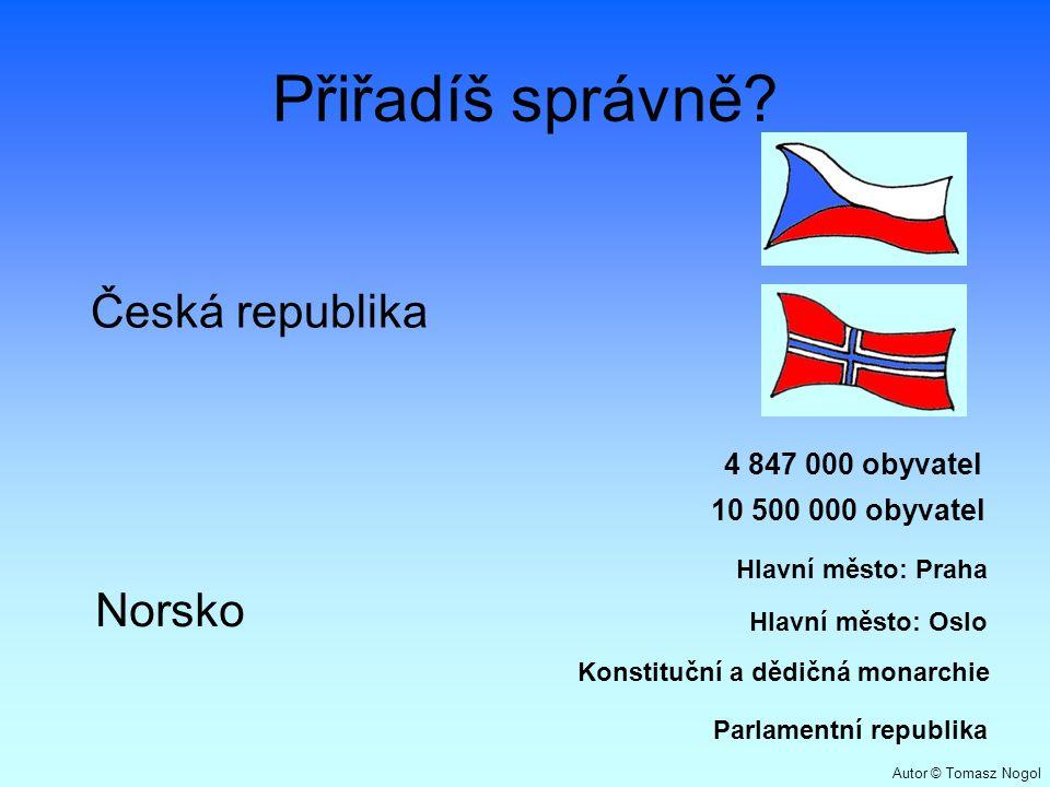 Přiřadíš správně? Česká republika Norsko 10 500 000 obyvatel 4 847 000 obyvatel Parlamentní republika Konstituční a dědičná monarchie Hlavní město: Pr