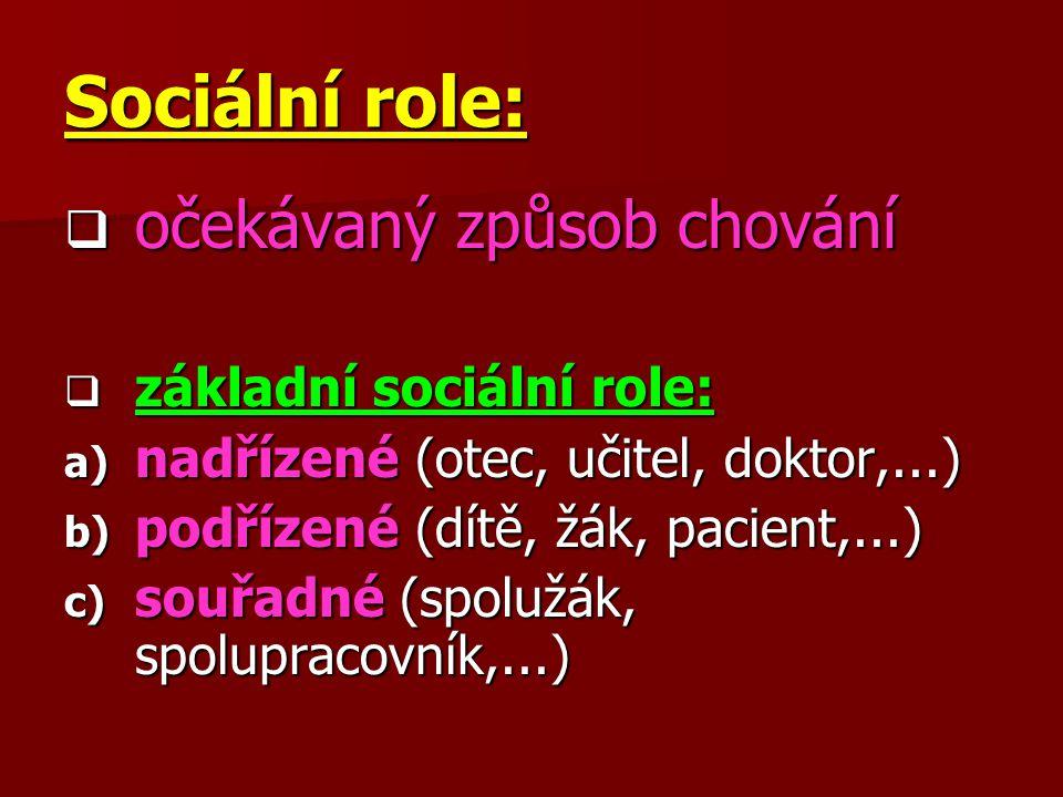 Sociální role:  očekávaný způsob chování  základní sociální role: a) nadřízené (otec, učitel, doktor,...) b) podřízené (dítě, žák, pacient,...) c) s