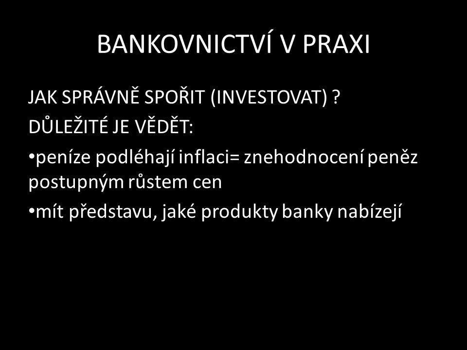 BANKOVNICTVÍ V PRAXI 1.SPOŘENÍ -vhodné pro krátkodobé zhodnocení peněz -bezpečné, nižší výnos 2.