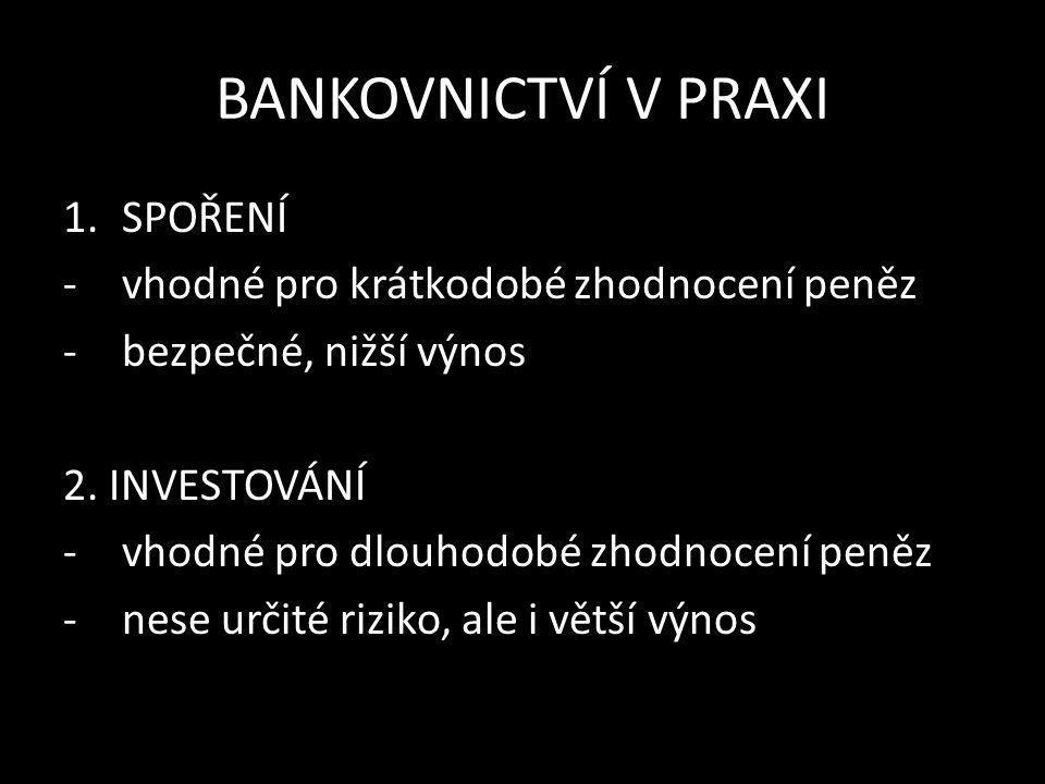BANKOVNICTVÍ V PRAXI Zdroje: finance.cz