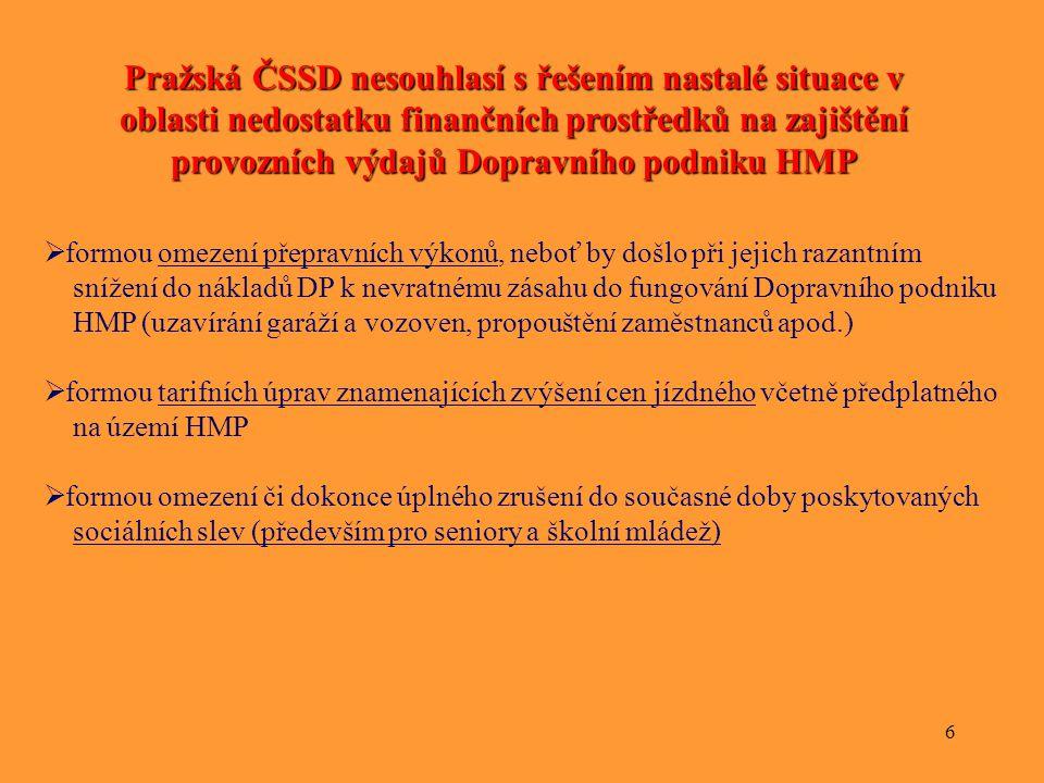 6 Pražská ČSSD nesouhlasí s řešením nastalé situace v oblasti nedostatku finančních prostředků na zajištění provozních výdajů Dopravního podniku HMP 