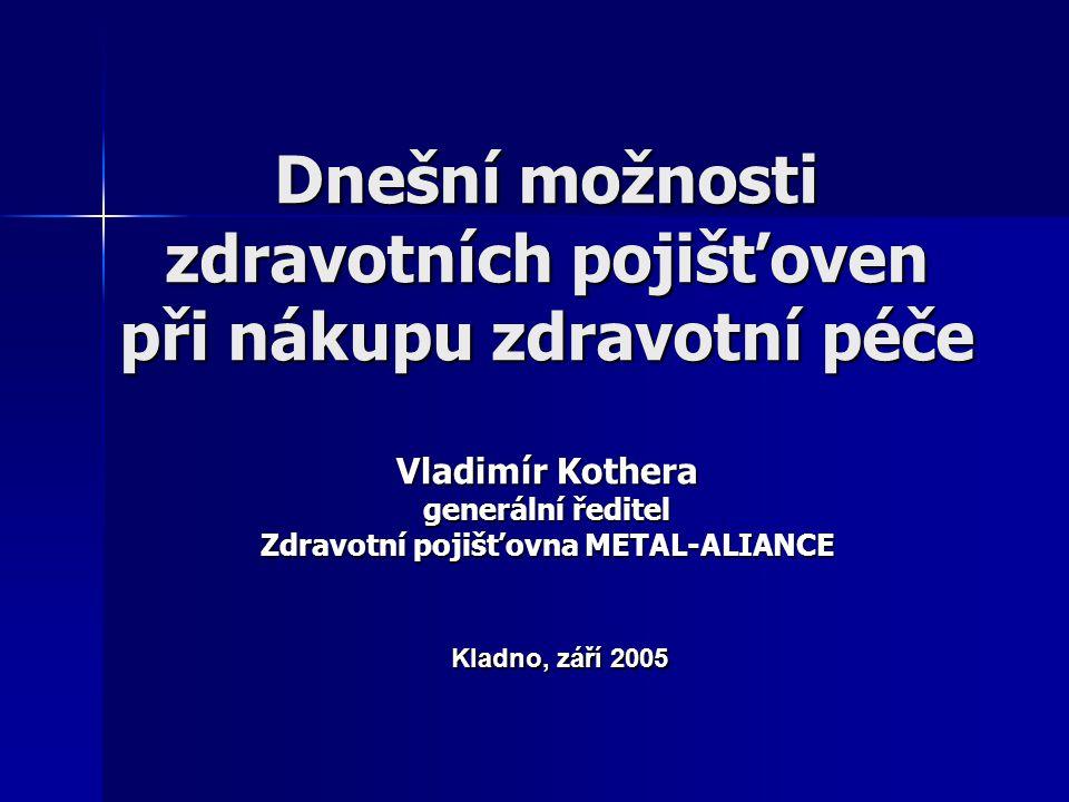 Dnešní možnosti zdravotních pojišťoven při nákupu zdravotní péče Vladimír Kothera generální ředitel Zdravotní pojišťovna METAL-ALIANCE Kladno, září 20