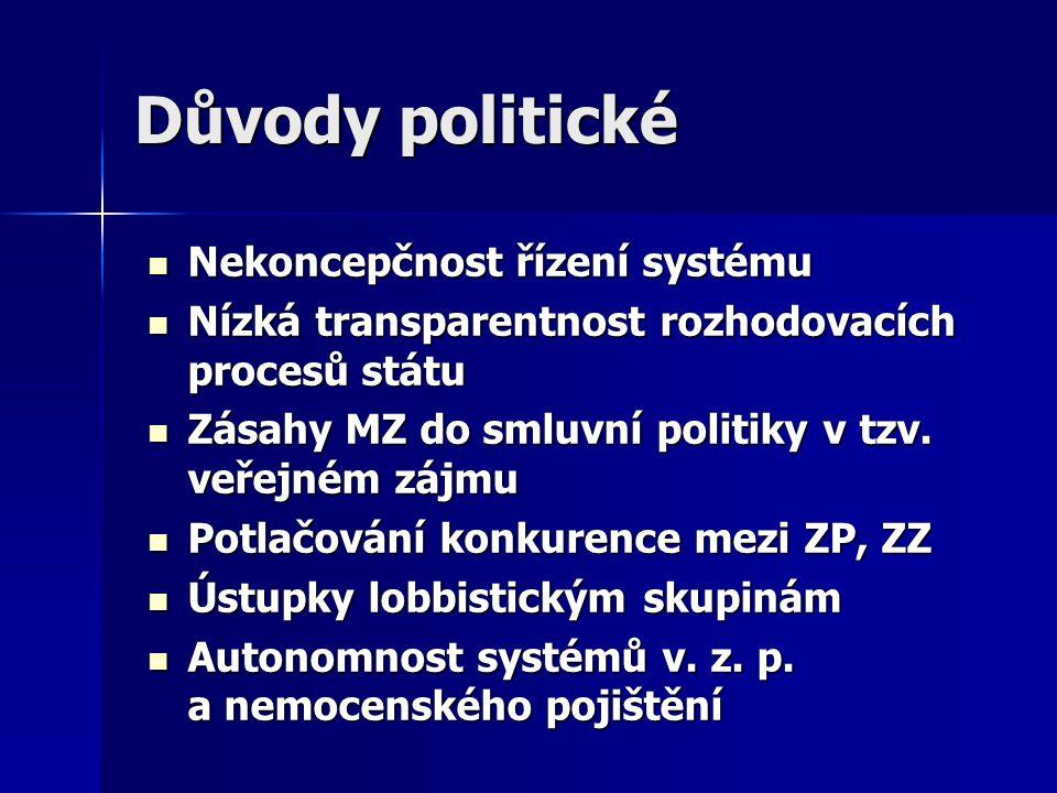 Důvody politické Nekoncepčnost řízení systému Nekoncepčnost řízení systému Nízká transparentnost rozhodovacích procesů státu Nízká transparentnost roz