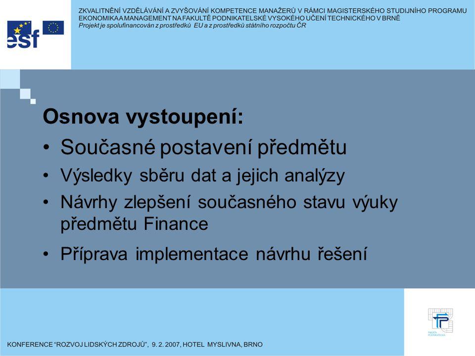 Osnova vystoupení: Současné postavení předmětu Výsledky sběru dat a jejich analýzy Návrhy zlepšení současného stavu výuky předmětu Finance Příprava im