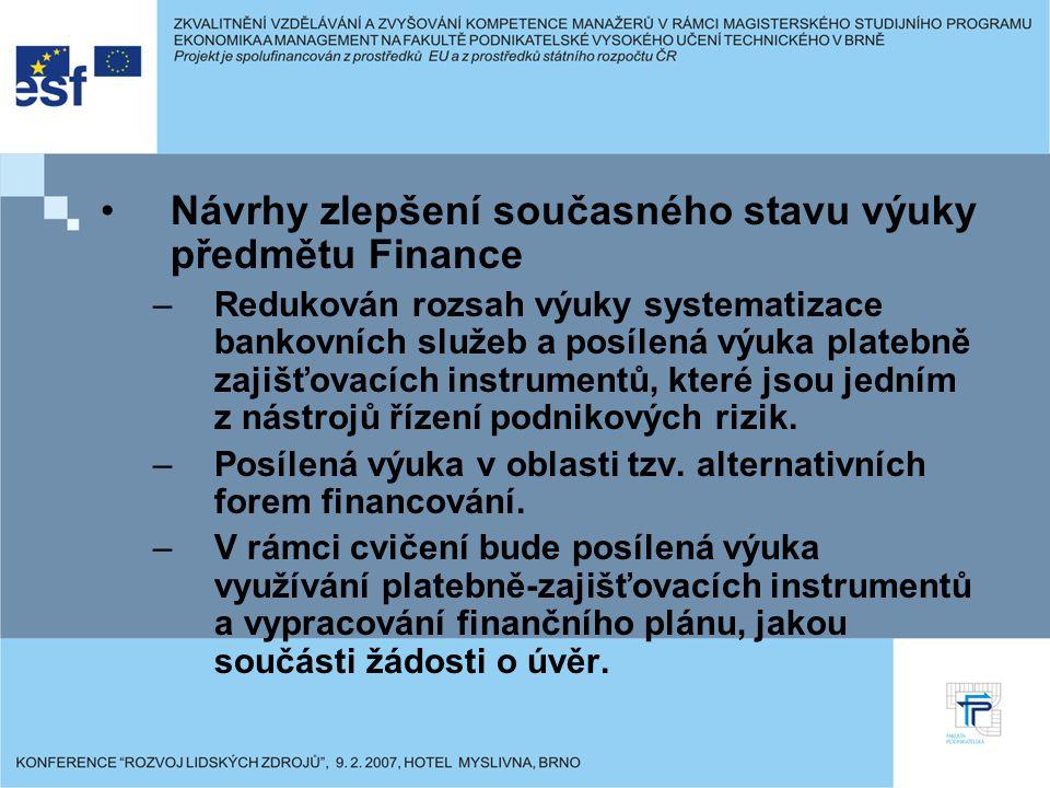 Návrhy zlepšení současného stavu výuky předmětu Finance –Redukován rozsah výuky systematizace bankovních služeb a posílená výuka platebně zajišťovacíc