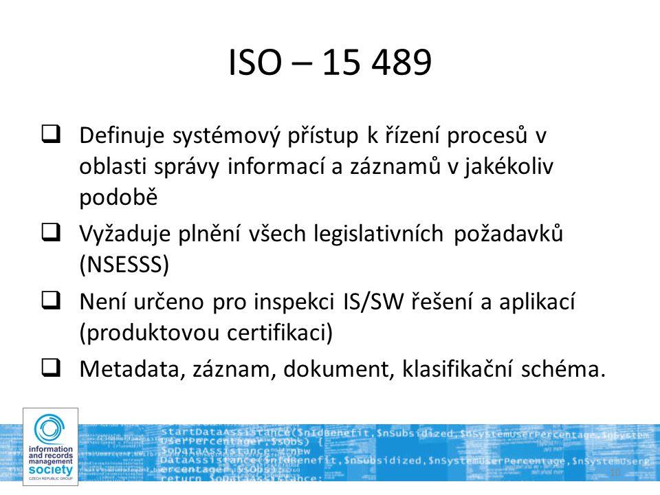 10 ISO – 15 489  Definuje systémový přístup k řízení procesů v oblasti správy informací a záznamů v jakékoliv podobě  Vyžaduje plnění všech legislativních požadavků (NSESSS)  Není určeno pro inspekci IS/SW řešení a aplikací (produktovou certifikaci)  Metadata, záznam, dokument, klasifikační schéma.